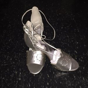 Silver Leather Strappy Sandals